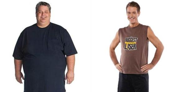 Season 8 winner Danny Cahill before (left) and after the show. He has since gained back 100 pounds.